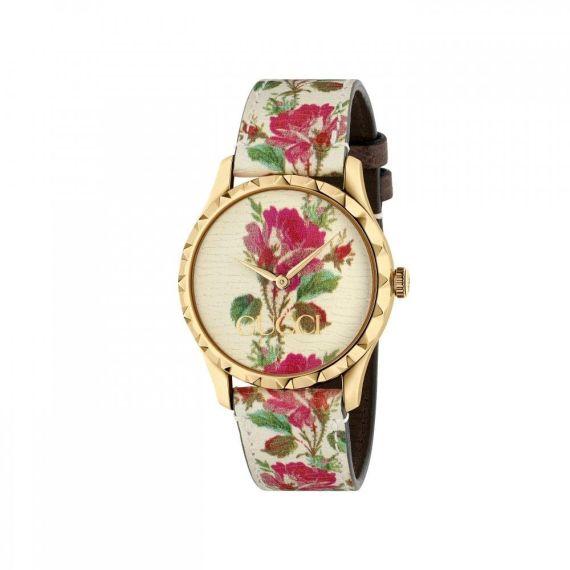 G-Timeless Quartz Bloom Beige Floral Watch