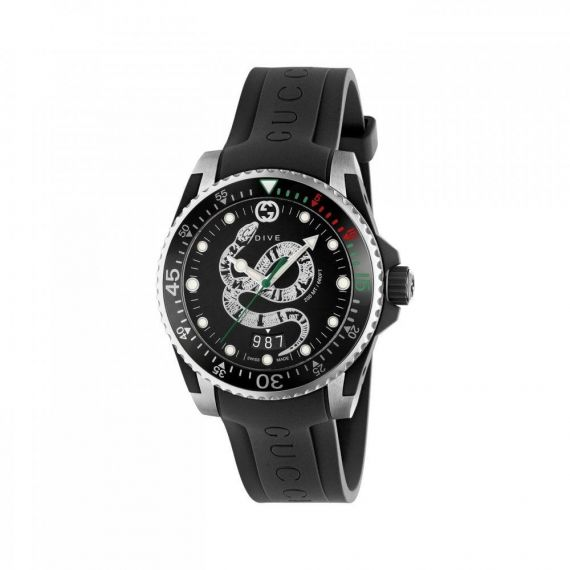 Gucci Dive Steel Snake Motif Quartz Watch