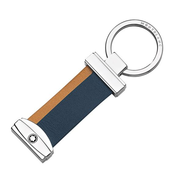 Meisterstuck Navy and Tan Stripe Key Fob