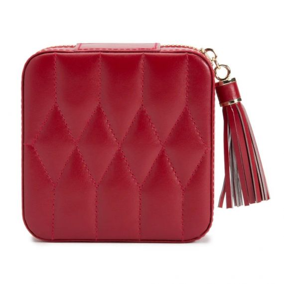 Caroline Red Leather Jewellery Travel Case