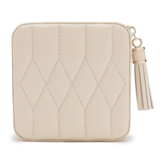 Caroline Cream Leather Jewellery Travel Case