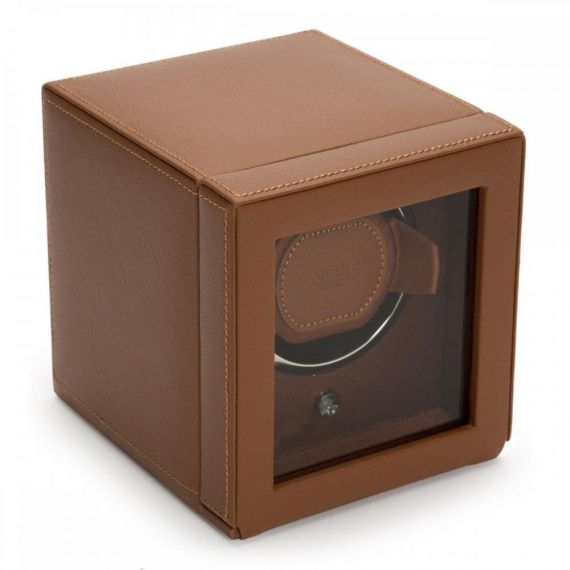 Cub Watch Winder With Cover In Cognac Pebble