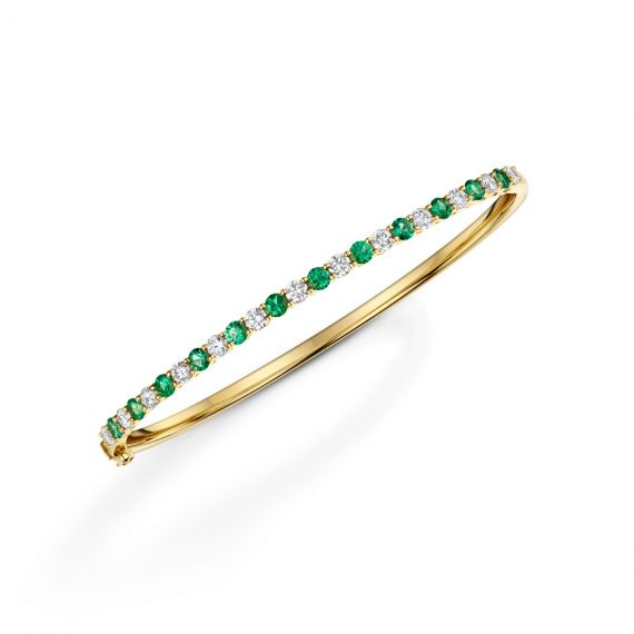 18ct Yellow Gold Emerald and Diamond Bangle