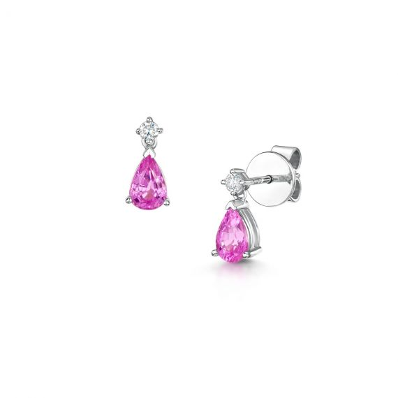 18ct White Gold Pink Sapphire and Diamond Drop Earrings