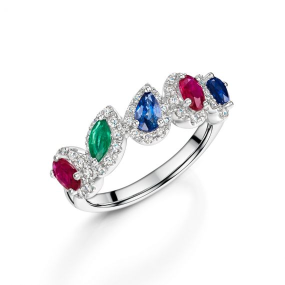 18ct White Gold Sapphire, Emerald, Ruby and Diamond Dress Ring
