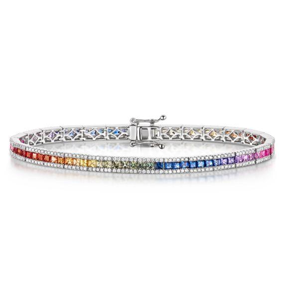 18ct White Gold 4.36ct Rainbow Sapphire Bracelet
