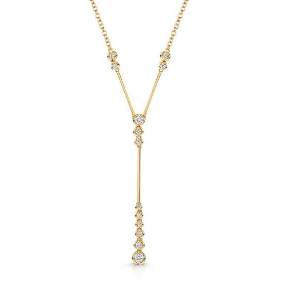 18ct Yellow Gold 0.36ct Diamond Bubble Drop Necklace