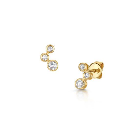 18ct Yellow Gold 0.22ct Diamond Bubble Studs
