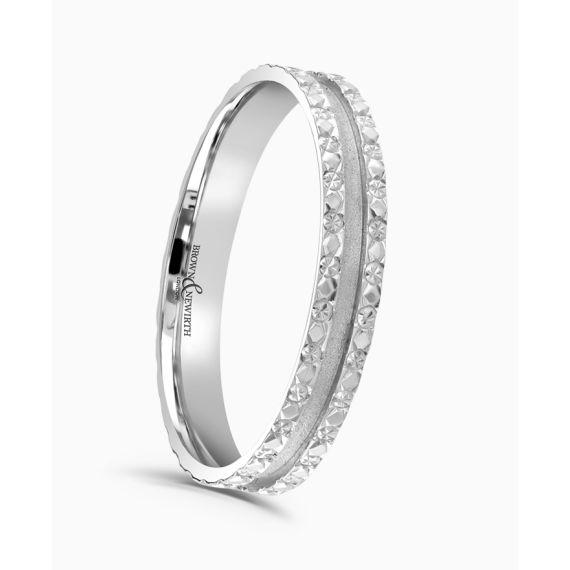 Platinum 3mm DIamond Cut Wedding Ring