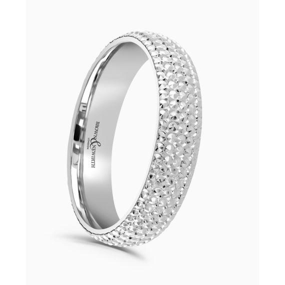 Platinum 3mm Beaded Wedding Ring