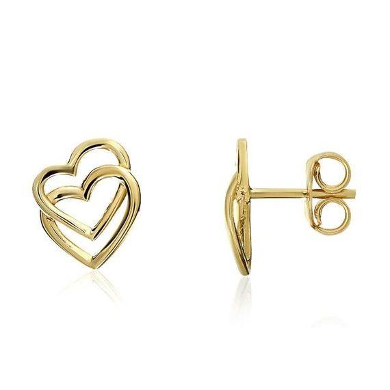 Double Heart Studs