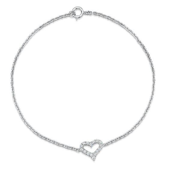 18ct White Gold .17ct Diamond Set Heart Bracelet