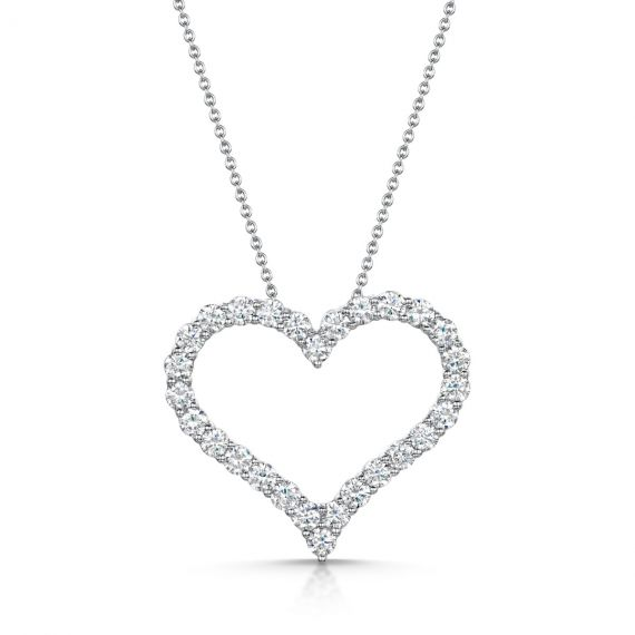 18ct White Gold 2.06ct Diamond Heart Pendant and Chain