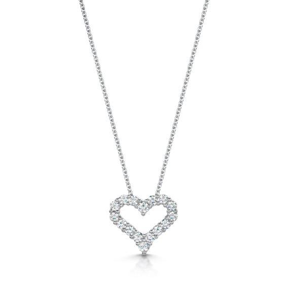 18ct White Gold 0.62ct Diamond Heart Pendant and Chain