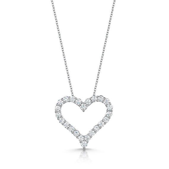 18ct White Gold 0.99ct Diamond Heart Pendant and Chain