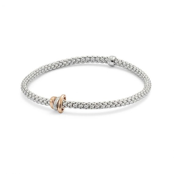 Flex'It Prima 18ct White Gold and 0.10ct Diamond Bracelet