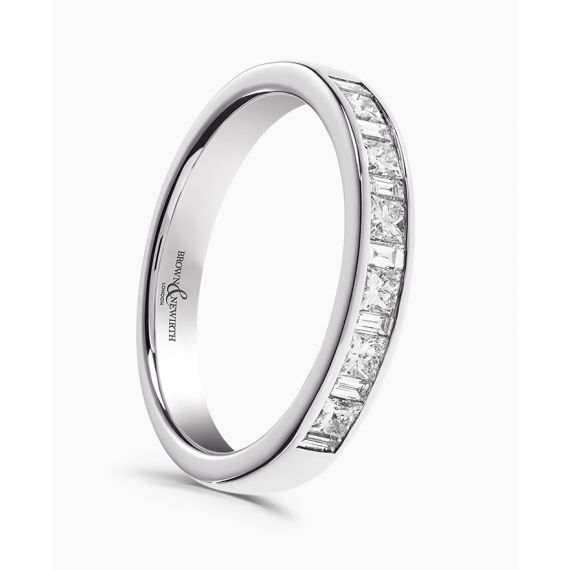 18ct White Gold Baguette and Princess Diamond Wedding Ring
