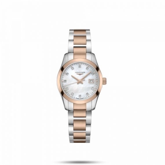Conquest Steel and Rose Gold PVD 29.5mm Quartz Watch