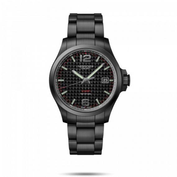 Conquest VHP Black PVD Coated Steel 43mm Quartz Watch