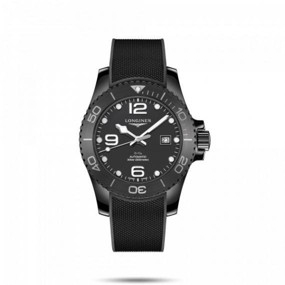 HydroConquest Black Ceramic 43mm Automatic Strap Watch