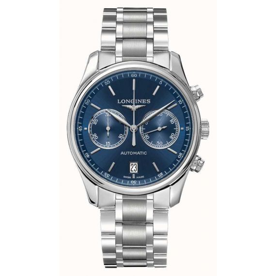 Master Collection Steel 40mm Automatic Blue Dial Chronograph Watch
