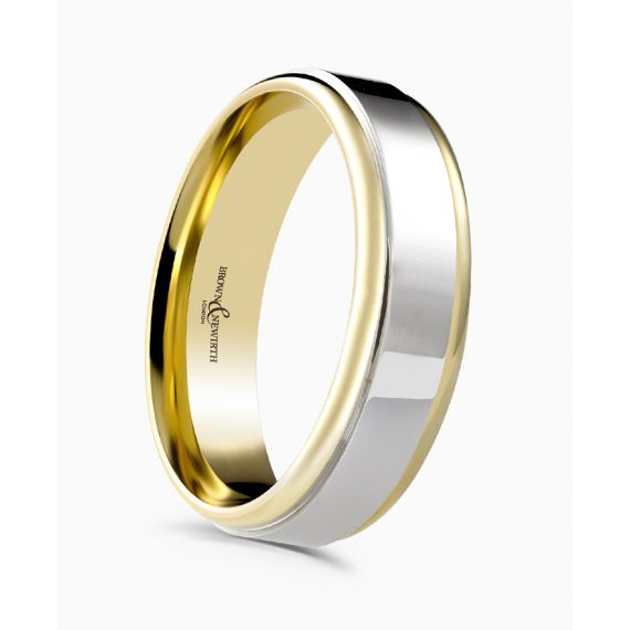 18ct White and Yellow Gold 3mm Wedding Ring