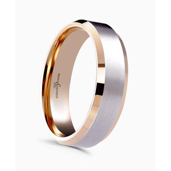 Platinum and 18ct Rose Gold Wedding Band