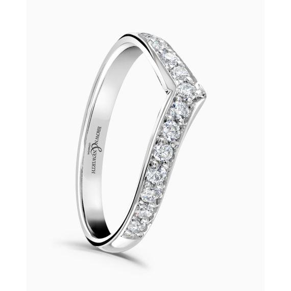 Platinum Brilliant Cut Diamond V Shaped Wedding Ring