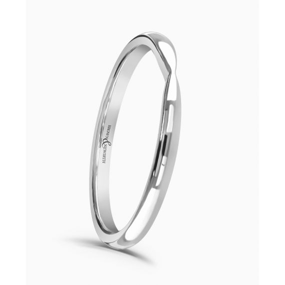 18ct White Gold Shaped 2mm Wedding Ring