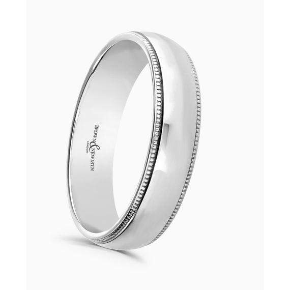 Platinum 2.5mm Beaded Wedding Ring