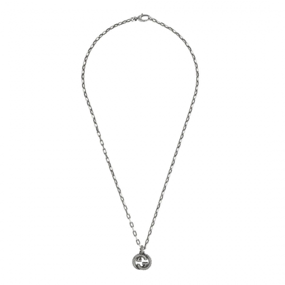 Interlocking G Aged Silver Pendant and Chain