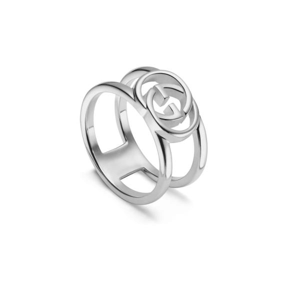 Interlocking G Silver Ring - Size 13