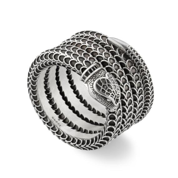 Garden Aged Silver Snake Wrap Ring - Size 19