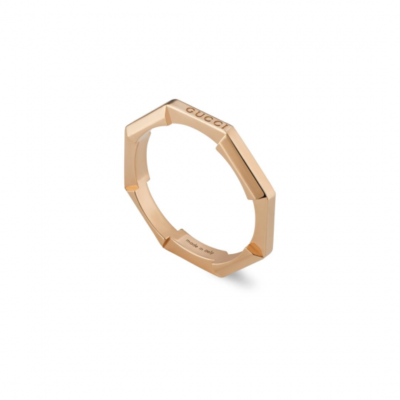 Link to Love 18ct Rose Gold Stack Ring -Size 14