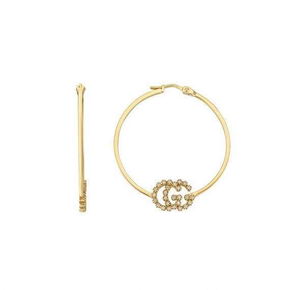 Running G Hoops 18ct Yellow Gold With Diamonds